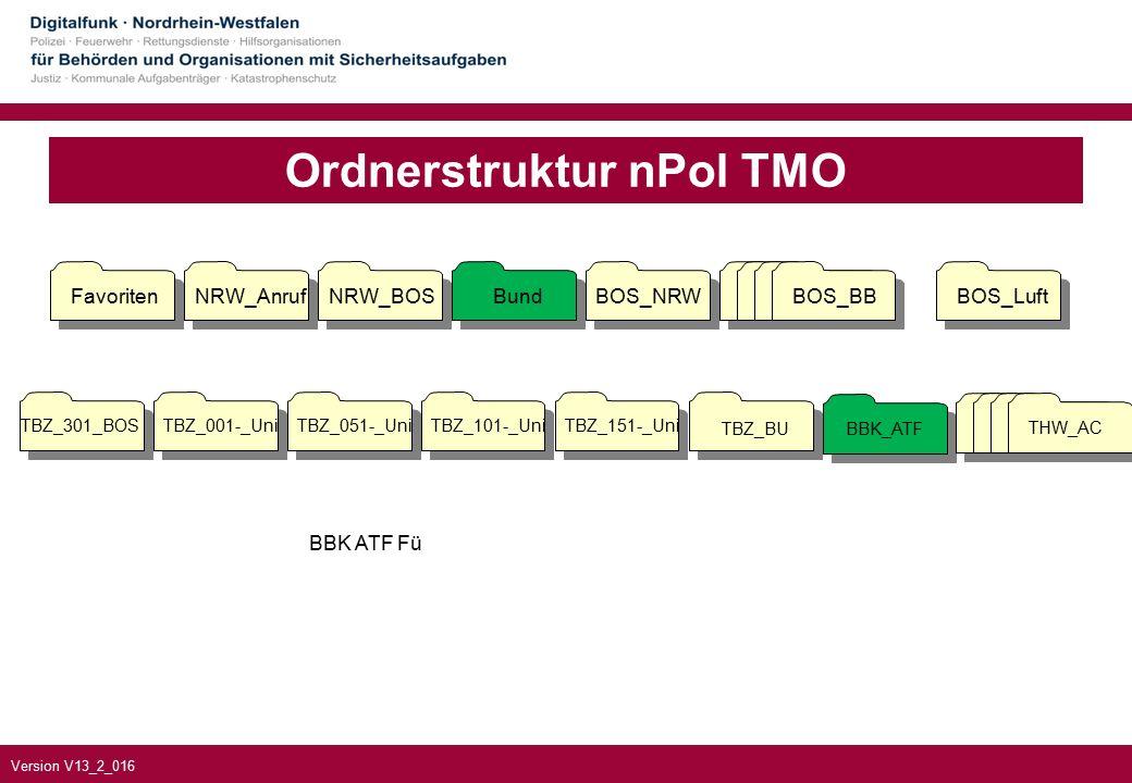 Version V13_2_016 Ordnerstruktur nPol TMO TBZ_301_BOSTBZ_001-_UniTBZ_051-_UniTBZ_101-_UniTBZ_151-_Uni TBZ_BUBBK_ATF FavoritenNRW_AnrufNRW_BOSBundBOS_NRWBOS_BBBOS_Luft BOS_BB THW_AC BBK ATF Fü