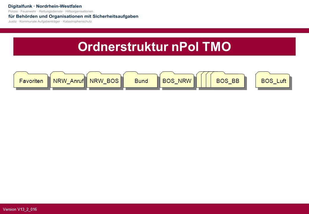 Version V13_2_016 Ordnerstruktur nPol TMO FavoritenNRW_AnrufNRW_BOSBundBOS_NRWBOS_BBBOS_Luft BOS_BB