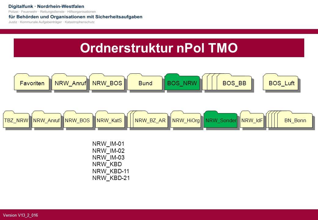 Version V13_2_016 Ordnerstruktur nPol TMO FavoritenNRW_AnrufNRW_BOSBundBOS_NRWBOS_BBBOS_Luft BOS_BB NRW_IM-01 NRW_IM-02 NRW_IM-03 NRW_KBD NRW_KBD-11 NRW_KBD-21 NRW_BZ_AR NRW_KatS NRW_HiOrg NRW_Sonder NRW_IdF TBZ_NRW NRW_Anruf NRW_BOS BN_Bonn