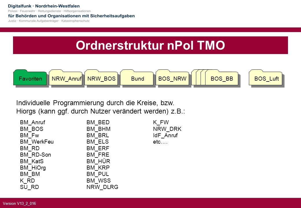 Version V13_2_016 Ordnerstruktur nPol TMO Individuelle Programmierung durch die Kreise, bzw.