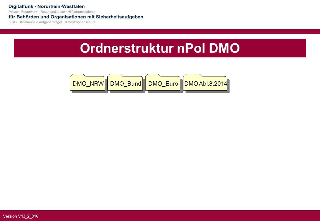 Version V13_2_016 Ordnerstruktur nPol DMO DMO_NRWDMO_BundDMO_EuroDMO Abl.8.2014
