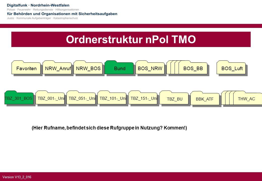 Version V13_2_016 Ordnerstruktur nPol TMO TBZ_301_BOSTBZ_001-_UniTBZ_051-_UniTBZ_101-_UniTBZ_151-_Uni TBZ_BUBBK_ATF FavoritenNRW_AnrufNRW_BOSBundBOS_NRWBOS_BBBOS_Luft BOS_BB THW_AC (Hier Rufname, befindet sich diese Rufgruppe in Nutzung.