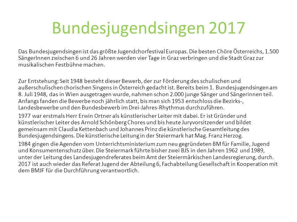 Bundesjugendsingen 2017 Das Bundesjugendsingen ist das größte Jugendchorfestival Europas.