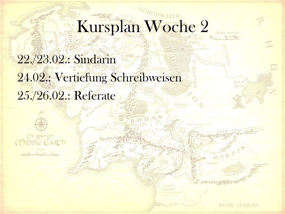 Kursplan Woche 2 22./23.02.: Sindarin 24.02.: Vertiefung Schreibweisen 25./26.02.: Referate