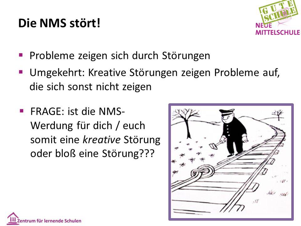 Die NMS stört!  Probleme zeigen sich durch Störungen  Umgekehrt: Kreative Störungen zeigen Probleme auf, die sich sonst nicht zeigen  FRAGE: ist di