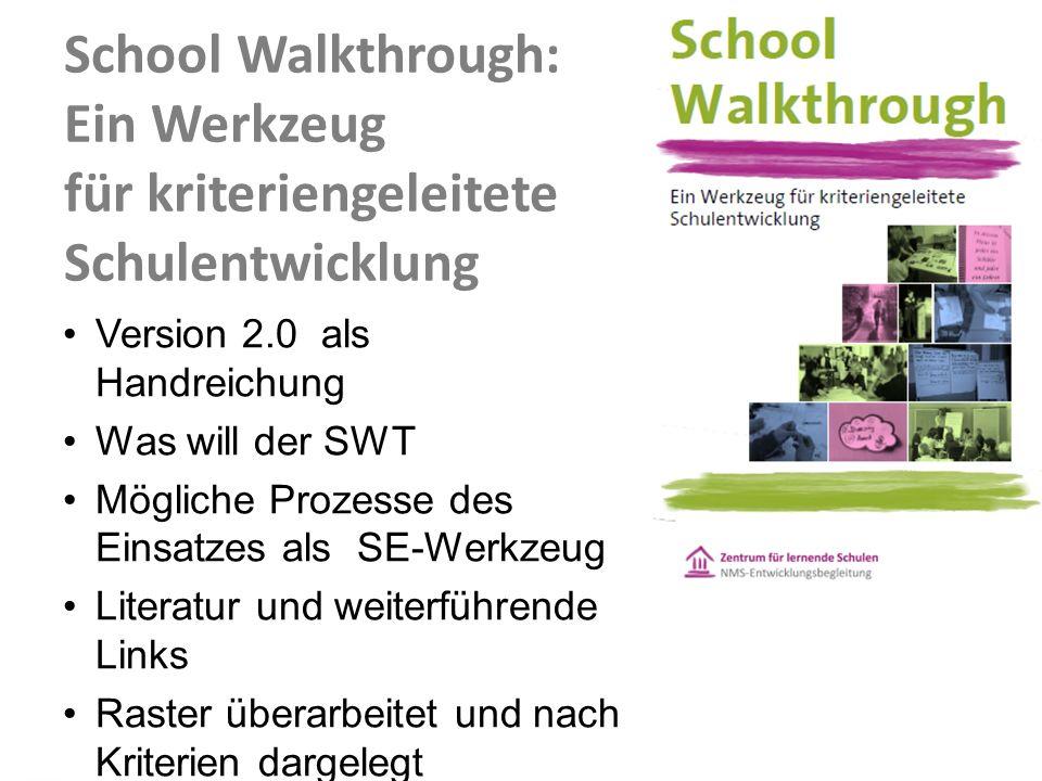 School Walkthrough: Ein Werkzeug für kriteriengeleitete Schulentwicklung Version 2.0 als Handreichung Was will der SWT Mögliche Prozesse des Einsatzes als SE-Werkzeug Literatur und weiterführende Links Raster überarbeitet und nach Kriterien dargelegt