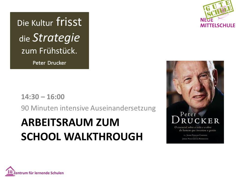 ARBEITSRAUM ZUM SCHOOL WALKTHROUGH 14:30 – 16:00 90 Minuten intensive Auseinandersetzung Die Kultur frisst die Strategie zum Frühstück. Peter Drucker