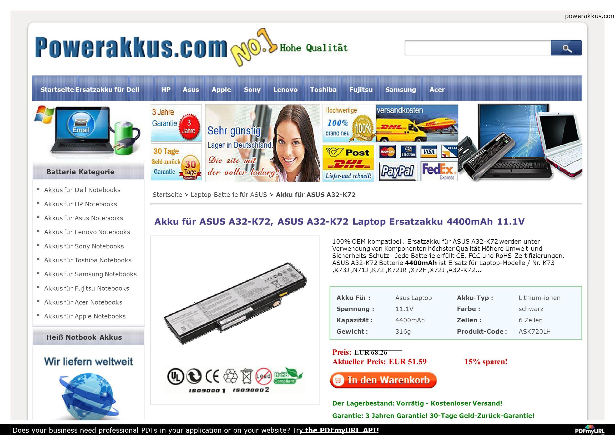 Akku für ASUS A32-K72, ASUS A32-K72 Laptop Ersatzakku 6600mAh 11.1V 100% OEM kompatibel.