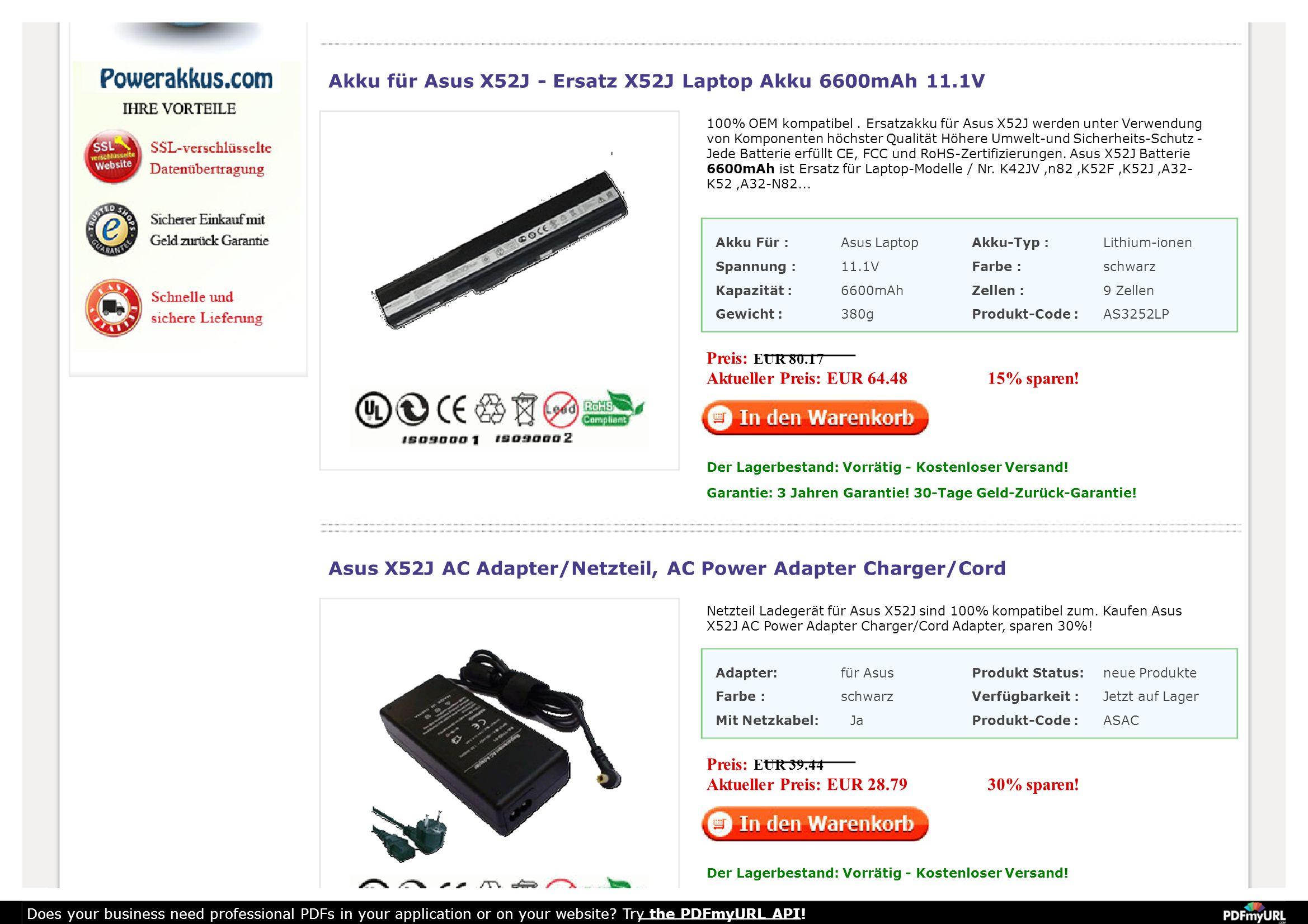 Akku für Asus X52J - Ersatz X52J Laptop Akku 6600mAh 11.1V 100% OEM kompatibel.