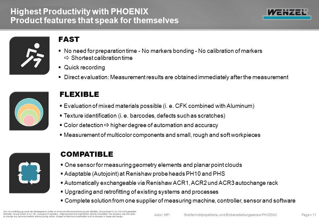 Autor: MFiStreifenlichtprojektions- und Bildverarbeitungssensor PHOENIX Page  11 Die Vervielfältigung sowie die Weitergabe an Dritte ist ohne schriftliche Zustimmung der WENZEL Group GmbH & Co.