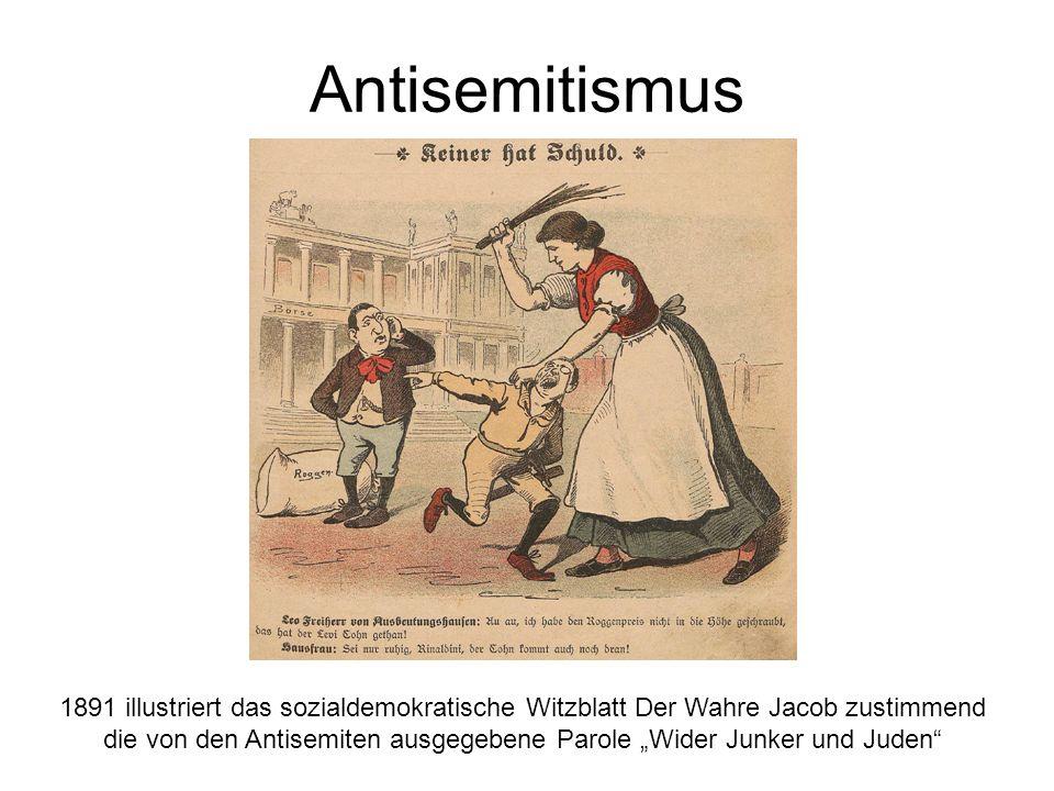 """Antisemitismus 1891 illustriert das sozialdemokratische Witzblatt Der Wahre Jacob zustimmend die von den Antisemiten ausgegebene Parole """"Wider Junker und Juden"""