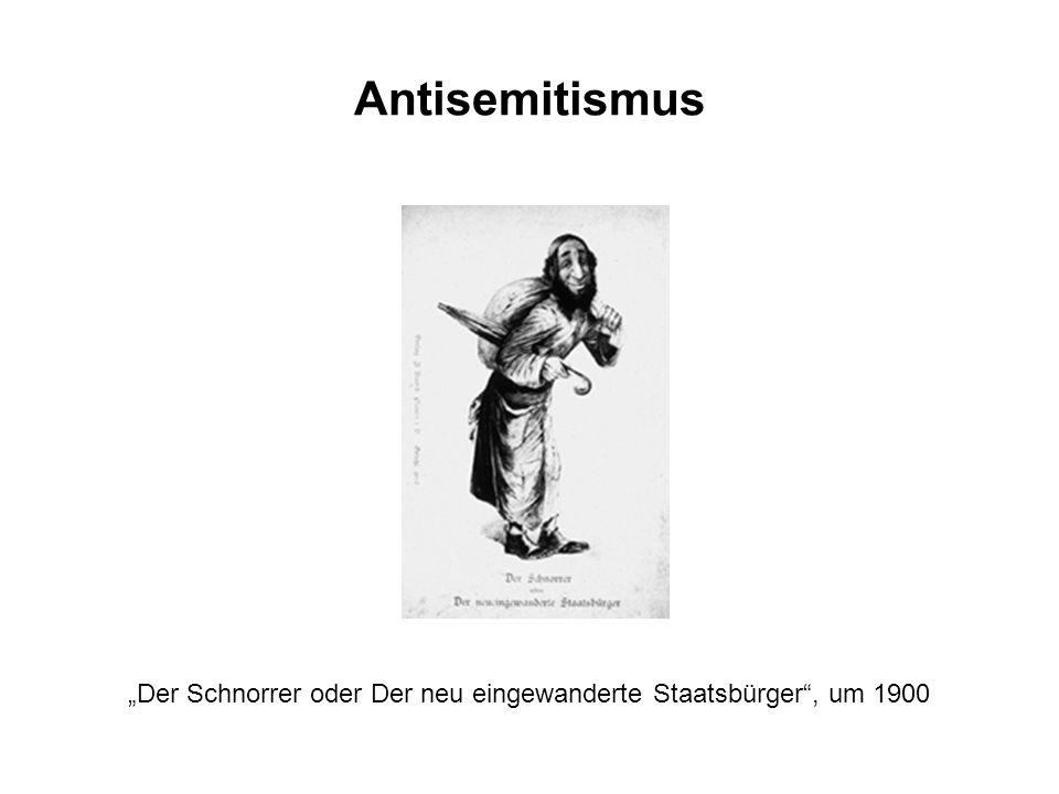 """Antisemitismus """"Der Schnorrer oder Der neu eingewanderte Staatsbürger , um 1900"""