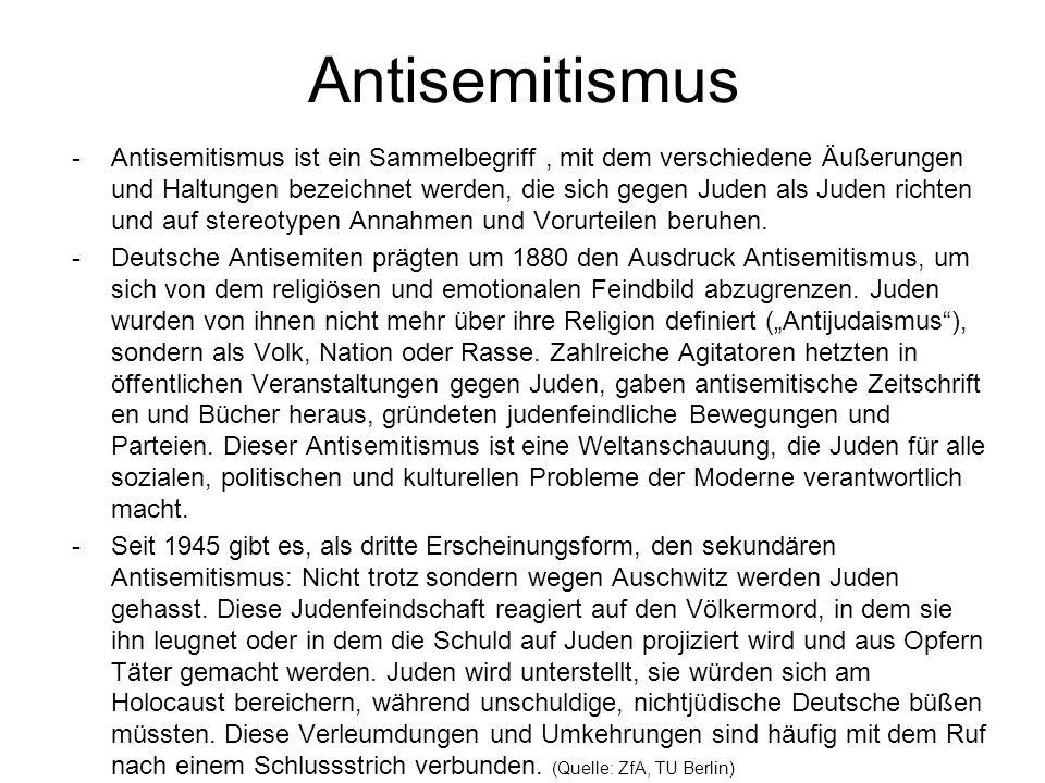 Antisemitismus -Antisemitismus ist ein Sammelbegriff, mit dem verschiedene Äußerungen und Haltungen bezeichnet werden, die sich gegen Juden als Juden richten und auf stereotypen Annahmen und Vorurteilen beruhen.