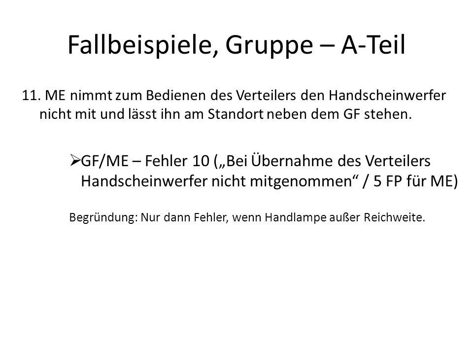 Fallbeispiele, Gruppe – A-Teil 11.