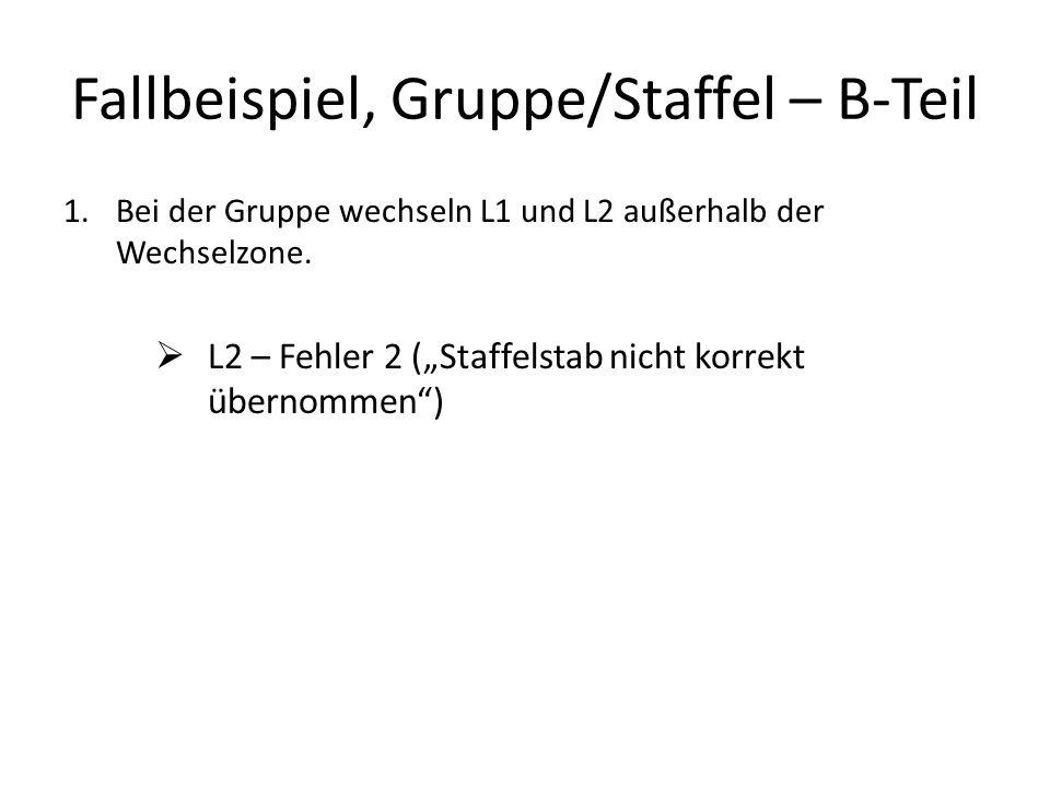Fallbeispiel, Gruppe/Staffel – B-Teil 1.Bei der Gruppe wechseln L1 und L2 außerhalb der Wechselzone.