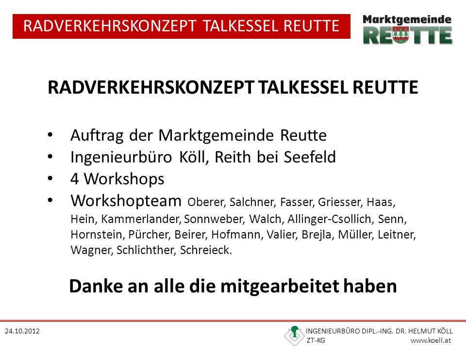 RADVERKEHRSKONZEPT TALKESSEL REUTTE 24.10.2012 INGENIEURBÜRO DIPL.-ING. DR. HELMUT KÖLL ZT-KG www.koell.at RADVERKEHRSKONZEPT TALKESSEL REUTTE Auftrag