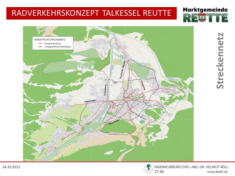RADVERKEHRSKONZEPT TALKESSEL REUTTE 24.10.2012 INGENIEURBÜRO DIPL.-ING. DR. HELMUT KÖLL ZT-KG www.koell.at Streckennetz