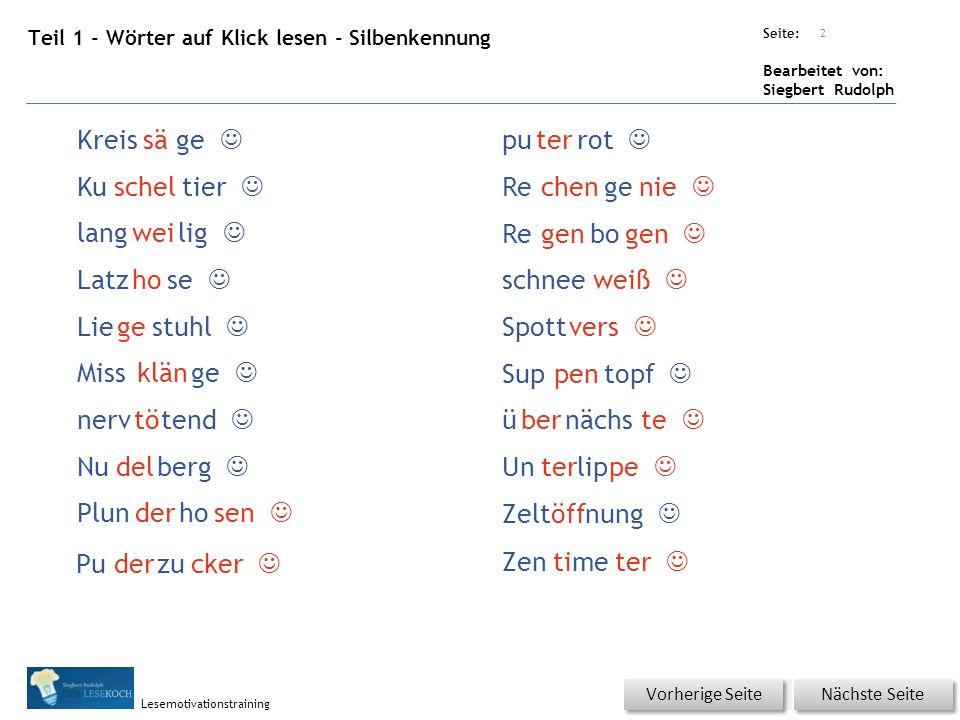 Übungsart: Seite: Bearbeitet von: Siegbert Rudolph Lesemotivationstraining Teil 1 - Wörter auf Klick lesen - Silbenkennung 2 Nächste Seite Vorherige S