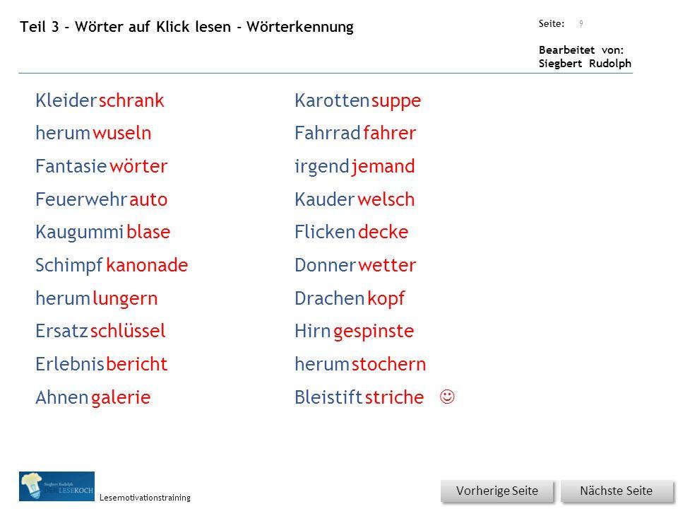 Übungsart: Seite: Bearbeitet von: Siegbert Rudolph Lesemotivationstraining Teil 3 - Blitzlesen Nicht KLICKEN.