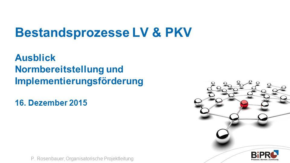 Bestandsprozesse LV & PKV Ausblick Normbereitstellung und Implementierungsförderung 16.