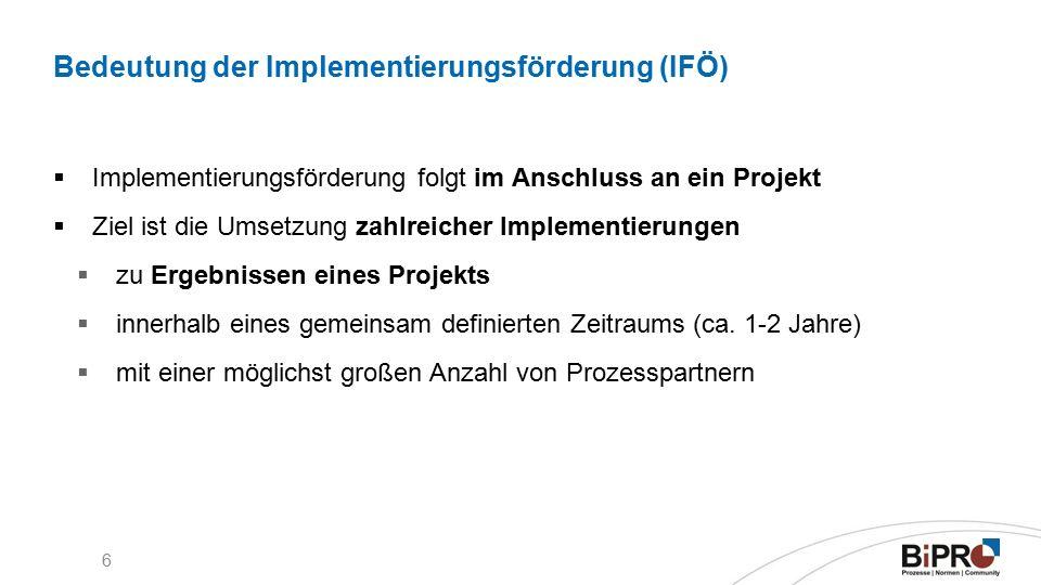 6 Bedeutung der Implementierungsförderung (IFÖ)  Implementierungsförderung folgt im Anschluss an ein Projekt  Ziel ist die Umsetzung zahlreicher Implementierungen  zu Ergebnissen eines Projekts  innerhalb eines gemeinsam definierten Zeitraums (ca.