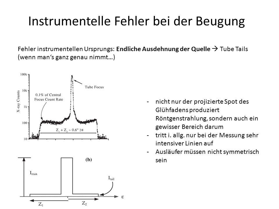 Instrumentelle Fehler bei der Beugung Fehler instrumentellen Ursprungs: Endliche Ausdehnung der Quelle  Tube Tails (wenn man's ganz genau nimmt…) -ni