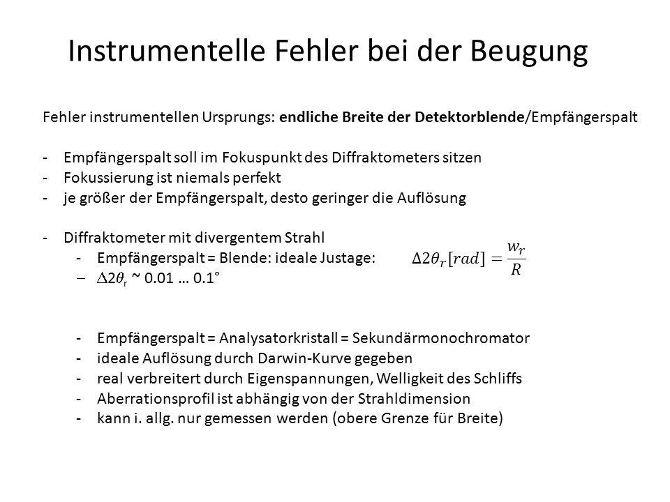 Instrumentelle Fehler bei der Beugung Fehler instrumentellen Ursprungs: endliche Breite der Detektorblende/Empfängerspalt -Empfängerspalt soll im Foku