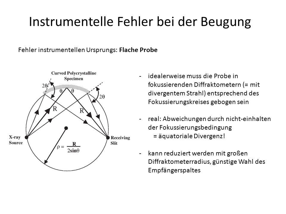 Instrumentelle Fehler bei der Beugung Fehler instrumentellen Ursprungs: Flache Probe -idealerweise muss die Probe in fokussierenden Diffraktometern (=