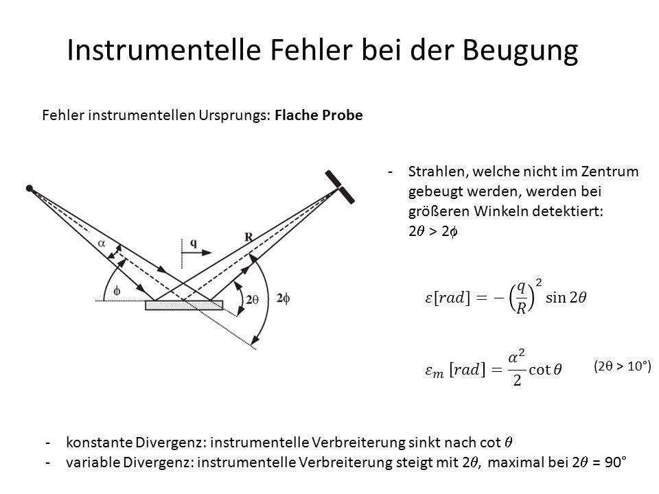 Instrumentelle Fehler bei der Beugung Fehler instrumentellen Ursprungs: Flache Probe -Strahlen, welche nicht im Zentrum gebeugt werden, werden bei grö