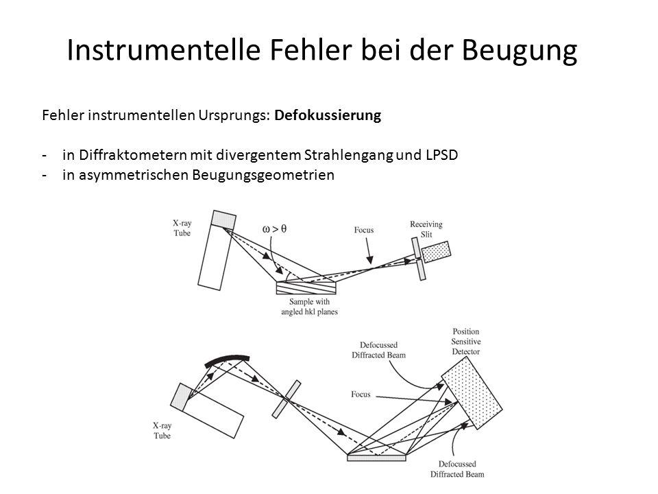 Instrumentelle Fehler bei der Beugung Fehler instrumentellen Ursprungs: Defokussierung -in Diffraktometern mit divergentem Strahlengang und LPSD -in a