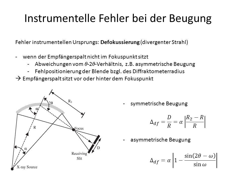 Instrumentelle Fehler bei der Beugung Fehler instrumentellen Ursprungs: Defokussierung (divergenter Strahl) -wenn der Empfängerspalt nicht im Fokuspun