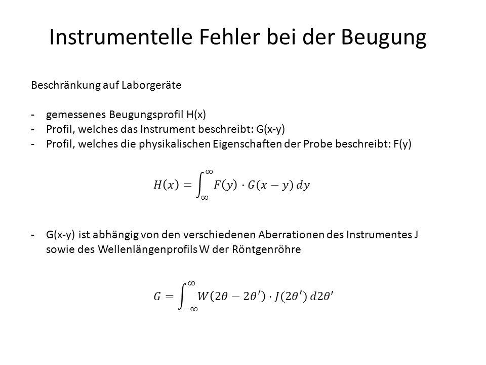 Instrumentelle Fehler bei der Beugung Fehler instrumentellen Ursprungs: Flache Probe -Strahlen, welche nicht im Zentrum gebeugt werden, werden bei größeren Winkeln detektiert: 2  > 2  (2  > 10°) -konstante Divergenz: instrumentelle Verbreiterung sinkt nach cot  -variable Divergenz: instrumentelle Verbreiterung steigt mit 2 , maximal bei 2  = 90°