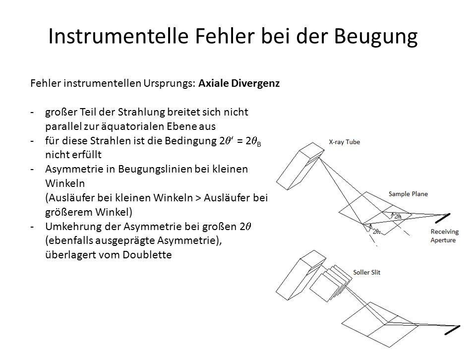 Instrumentelle Fehler bei der Beugung Fehler instrumentellen Ursprungs: Axiale Divergenz -großer Teil der Strahlung breitet sich nicht parallel zur äq