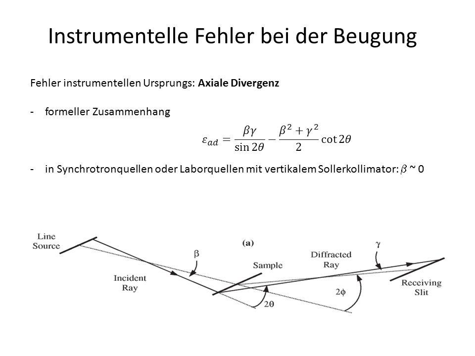 Instrumentelle Fehler bei der Beugung Fehler instrumentellen Ursprungs: Axiale Divergenz -formeller Zusammenhang -in Synchrotronquellen oder Laborquel