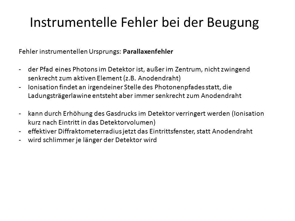 Instrumentelle Fehler bei der Beugung Fehler instrumentellen Ursprungs: Parallaxenfehler -der Pfad eines Photons im Detektor ist, außer im Zentrum, ni