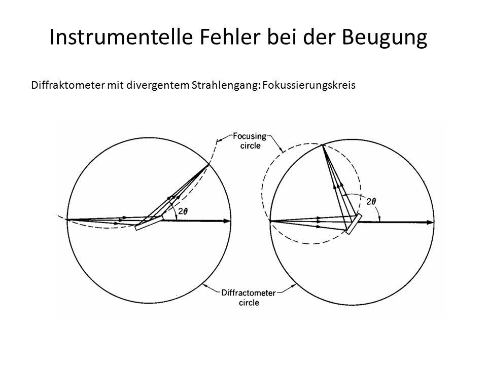Instrumentelle Fehler bei der Beugung Diffraktometer mit parallelem Strahlengang: prinzipielle geometrische Fehler -Probenversatz -Probentransparenz -Oberflächenrauhigkeit  haben (fast) keinen Einfluss auf Profilfunktion -Verteilung des Akzeptanzwinkels des Analysatorkristalls -axiale Divergenz  erzeugen Peakverbreiterung und Asymmetrie (geringes Ausmaß)