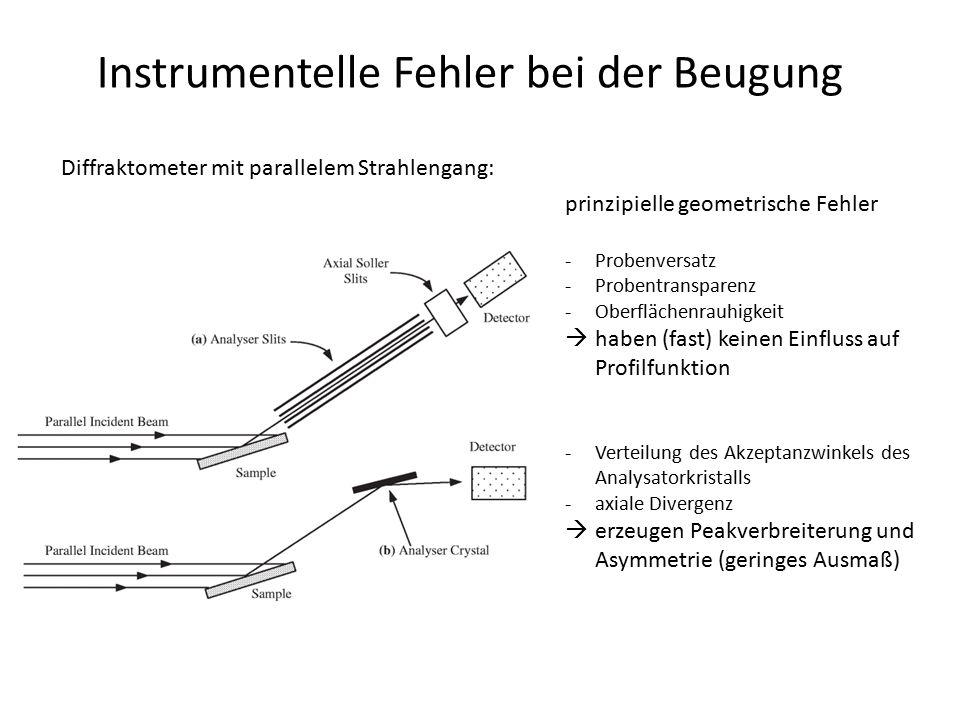 Instrumentelle Fehler bei der Beugung Beiträge: -bei kleinen Beugungswinkeln (2  < 50°) dominieren Beiträge der geometrischen Aberration (optische Bauelemente) -bei großen Beugungswinkeln (2  > 100°) dominiert die Intensitätsverteilung der Röntgenquelle -alle Aberrationen durch optische Bauelemente haben eine 2  -Abhängigkeit, abgesehen von der endlichen Größe von Quelle und Empfängerspalt -alle (folgenden) Beiträge haben leicht geänderte funktionale Zusammenhänge, je nach Diffraktometertyp/Beugungsgeometrie