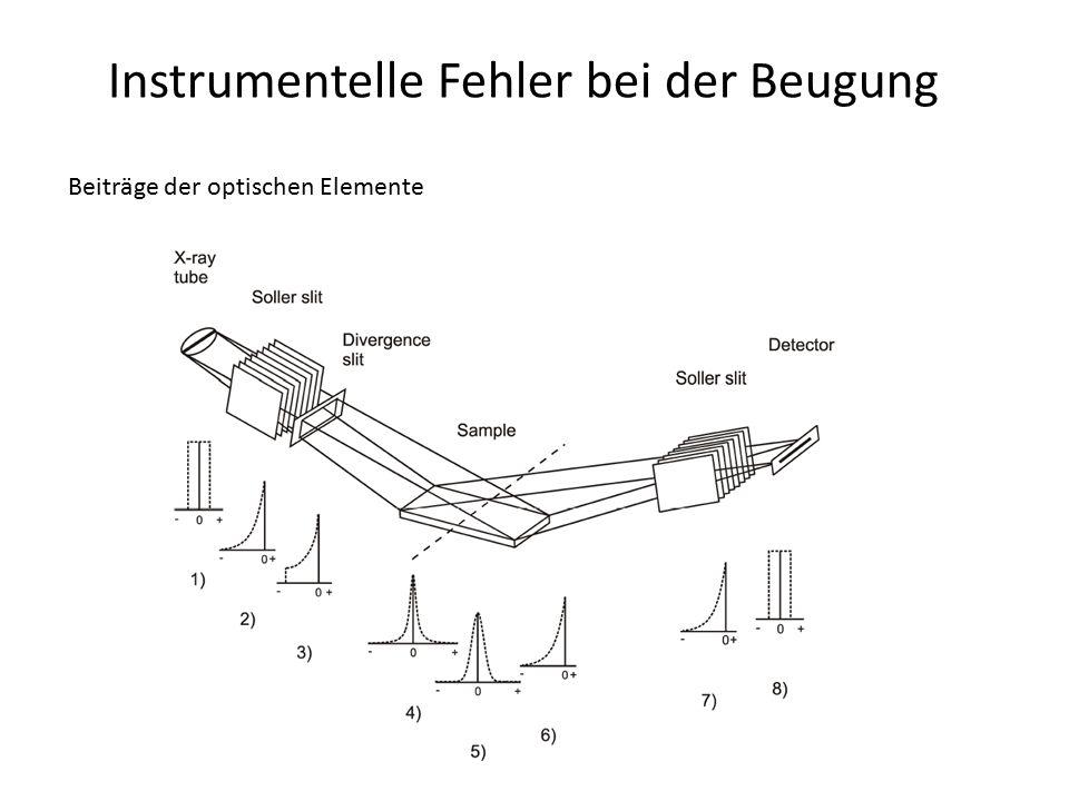 Instrumentelle Fehler bei der Beugung Fehler instrumentellen Ursprungs: Wellenlängenverteilung -natürliche Form der Energieverteilung einer Emissionslinie ist lorentzförmig -reale Beobachtung: die Emissionslinien -sind nicht lorentzförmig -haben Asymmetrien mit Ausläufern bei hohen Winkeln -des Doublettes haben unterschiedliche Breiten -Hauptanteil der Linienverbreiterung durch Emissionsprofil, wenn 2  > 80° -Ursachen der Asymmetrie -wichtigster Übergang: 2p  1s -zusätzliche Übergange im 3d-Niveau (Mehrfachionisation) -Satelliten der  -Übergänge (0.6 … 1.4%, zusätzliche 2p-Vakanz) -Dispersionseffekte bei hohen 2  relevant -Monochromatoren dämpfen Ausläufer des Profils sehr stark (Filter nicht):  Modellierung des Emissionsprofils nicht mehr möglich -in Diffraktometern mit Göbel-Spiegel kann dieser die Lagen  2  K  21 = 2  K  2 -2  K  1 verschieben (Reflexion in verschiedene Richtungen)