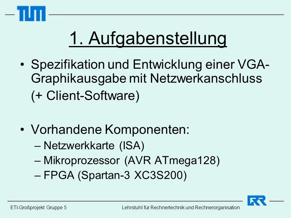 ETI-Großprojekt Gruppe 5Lehrstuhl für Rechnertechnik und Rechnerorganisation 1. Aufgabenstellung Spezifikation und Entwicklung einer VGA- Graphikausga