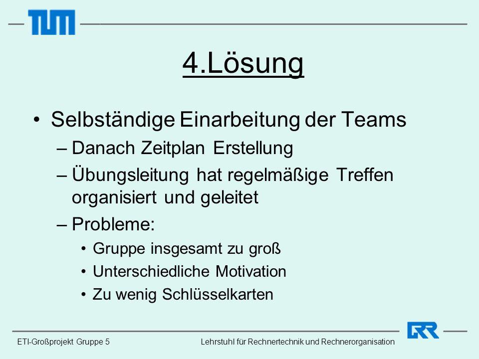 ETI-Großprojekt Gruppe 5 4.Lösung Selbständige Einarbeitung der Teams –Danach Zeitplan Erstellung –Übungsleitung hat regelmäßige Treffen organisiert u
