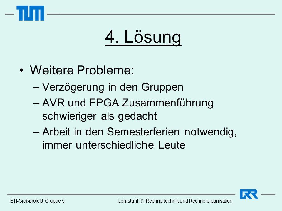 ETI-Großprojekt Gruppe 5 4. Lösung Weitere Probleme: –Verzögerung in den Gruppen –AVR und FPGA Zusammenführung schwieriger als gedacht –Arbeit in den