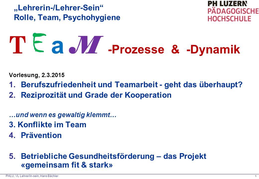 """PHLU, VL Lehrer/in-sein, Hans Bächler 1 """"Lehrerin-/Lehrer-Sein Rolle, Team, Psychohygiene T E a M -Prozesse & -Dynamik Vorlesung, 2.3.2015 1.Berufszufriedenheit und Teamarbeit - geht das überhaupt."""