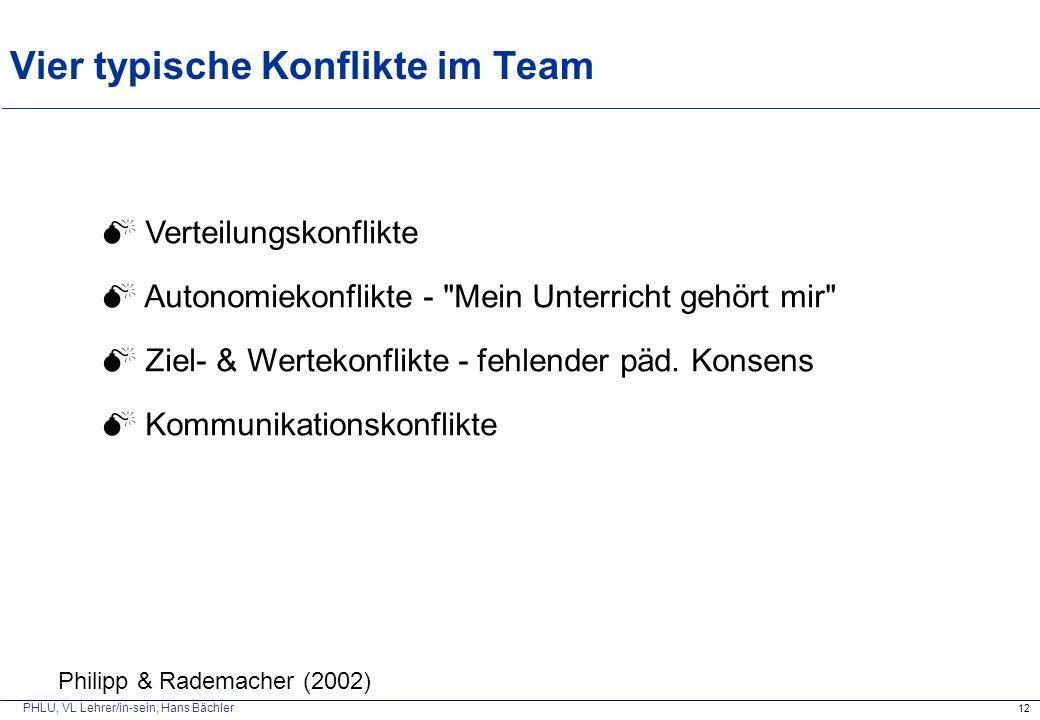 PHLU, VL Lehrer/in-sein, Hans Bächler Vier typische Konflikte im Team 12  Verteilungskonflikte  Autonomiekonflikte - Mein Unterricht gehört mir  Ziel- & Wertekonflikte - fehlender päd.