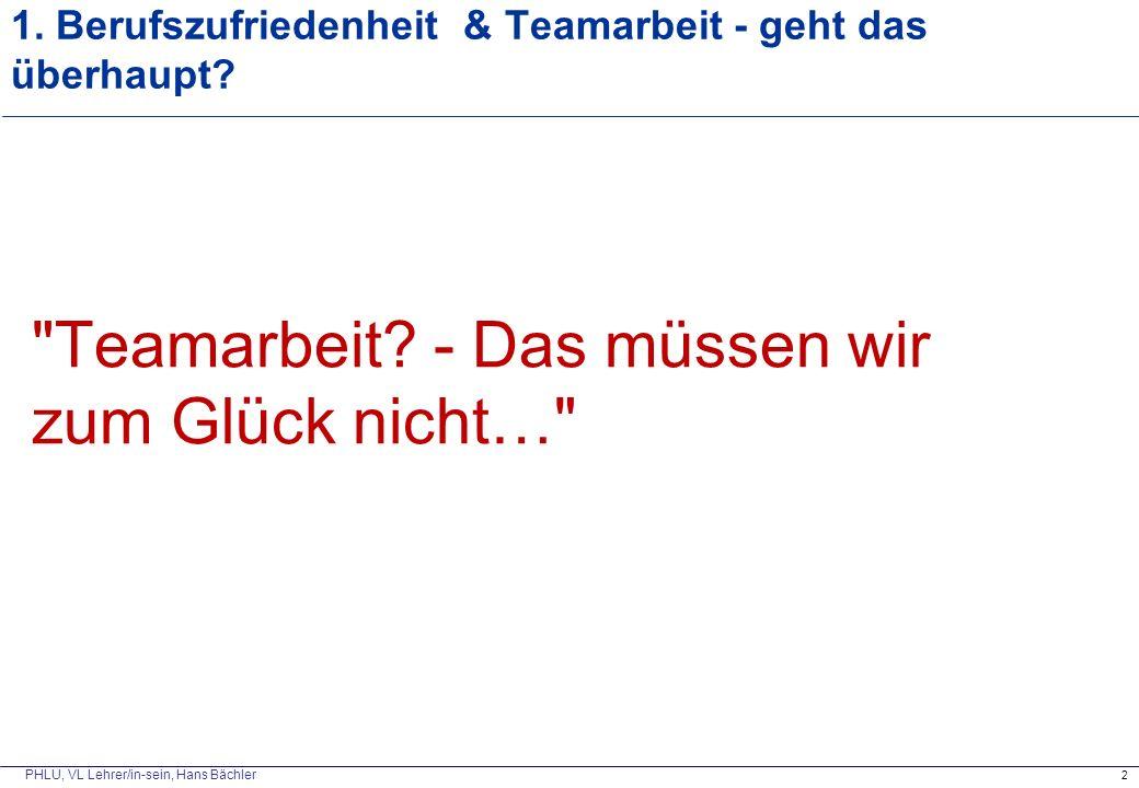 PHLU, VL Lehrer/in-sein, Hans Bächler 1. Berufszufriedenheit & Teamarbeit - geht das überhaupt?