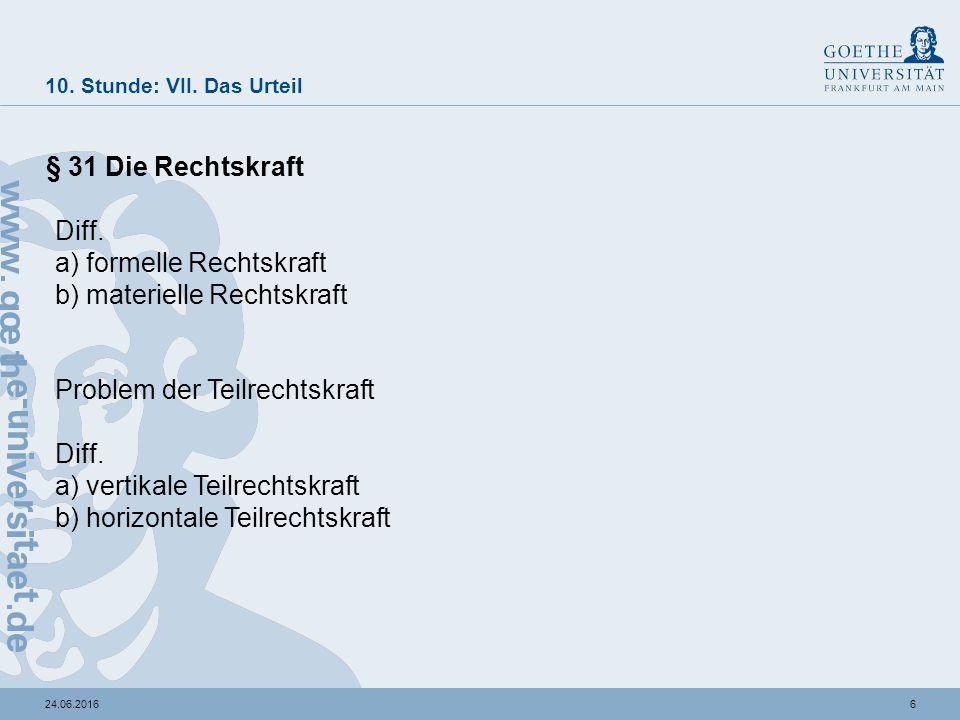 624.06.2016 10. Stunde: VII. Das Urteil § 31 Die Rechtskraft Diff.