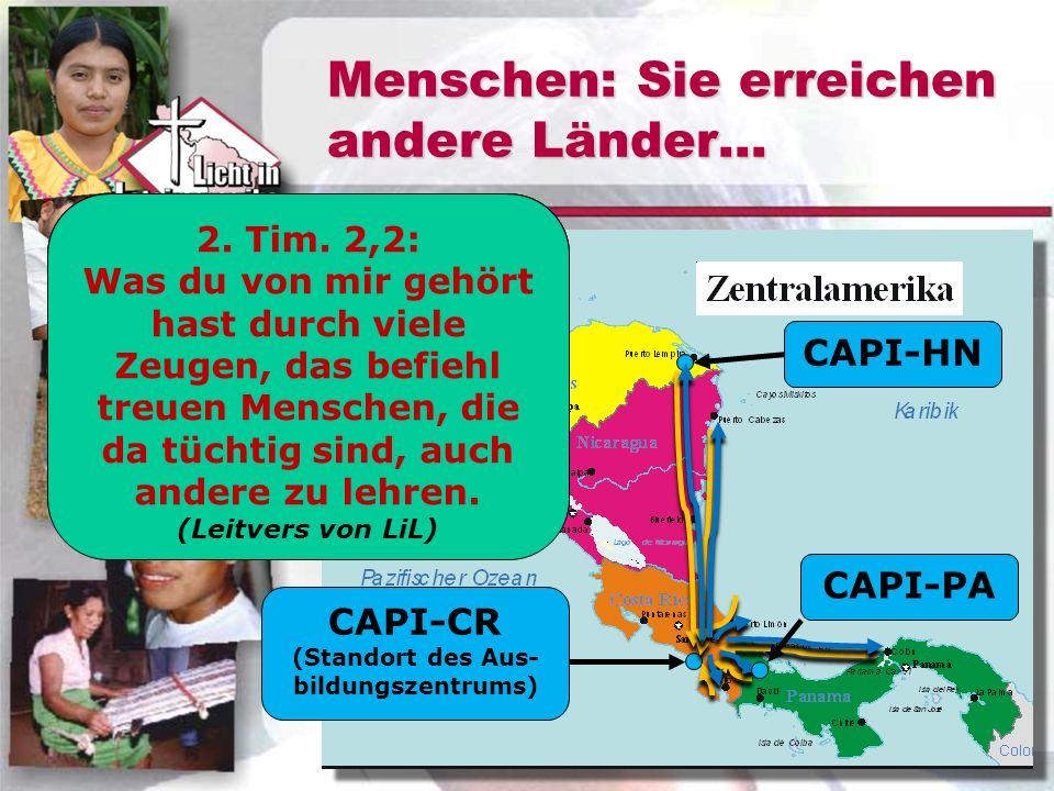 Menschen: Sie erreichen andere Länder... CAPI-CR (Standort des Aus- bildungszentrums) CAPI-HNCAPI-PA Schüler kommen von den Indianergebieten aus Costa