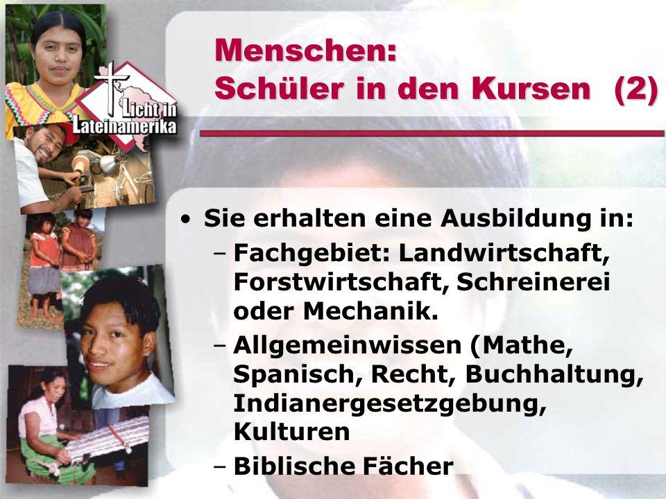 Menschen: Schüler in den Kursen (2) Sie erhalten eine Ausbildung in: –Fachgebiet: Landwirtschaft, Forstwirtschaft, Schreinerei oder Mechanik. –Allgeme