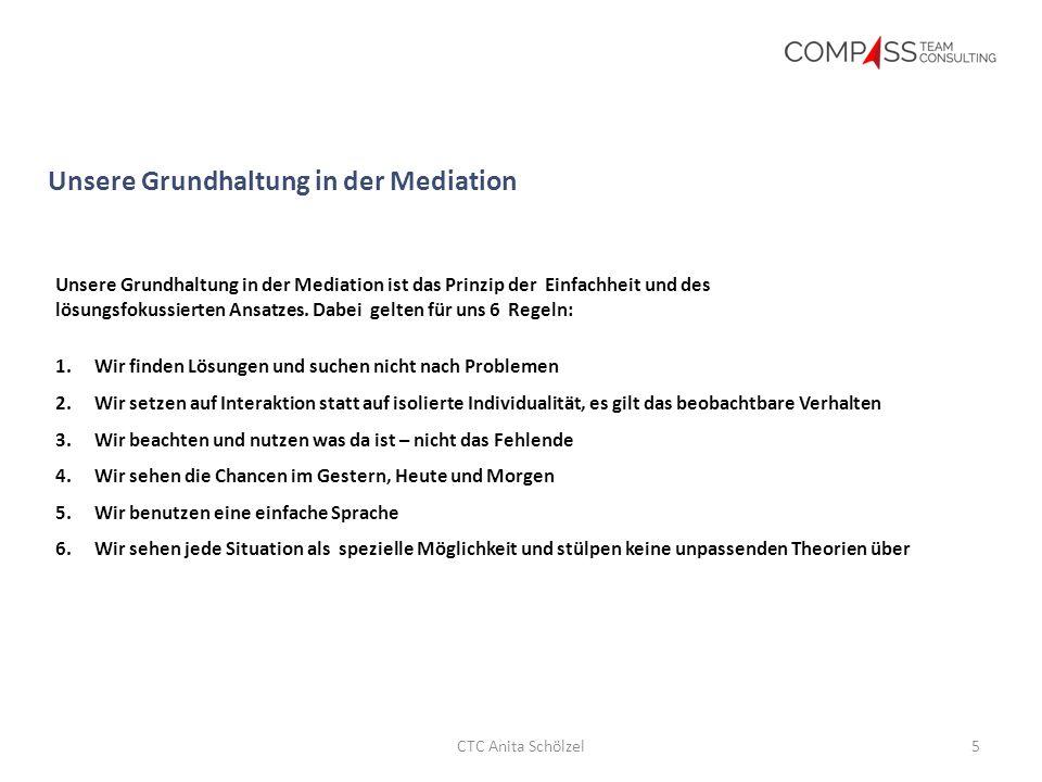 Ausgangspunkt Unsere Grundhaltung in der Mediation 5CTC Anita Schölzel Unsere Grundhaltung in der Mediation ist das Prinzip der Einfachheit und des lösungsfokussierten Ansatzes.