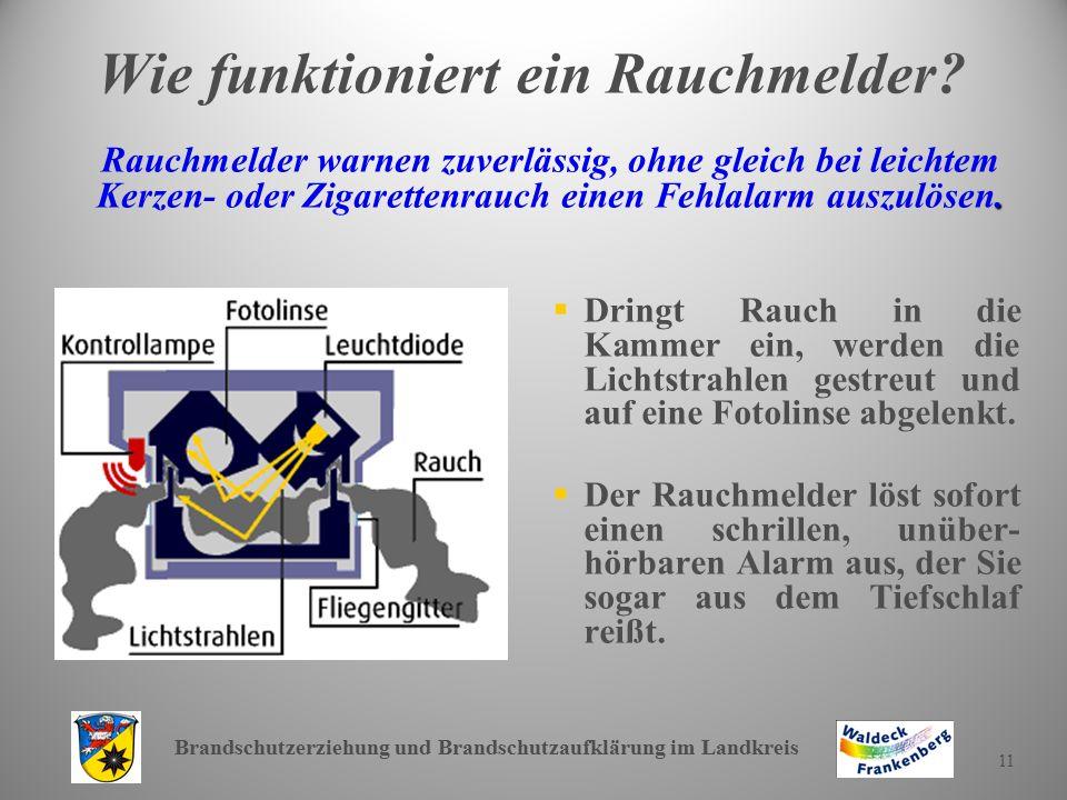 Brandschutzerziehung und Brandschutzaufklärung im Landkreis 11 Wie funktioniert ein Rauchmelder?.