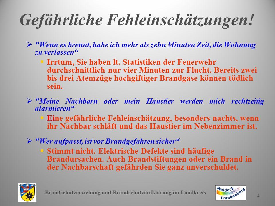 Brandschutzerziehung und Brandschutzaufklärung im Landkreis 4 Gefährliche Fehleinschätzungen!  